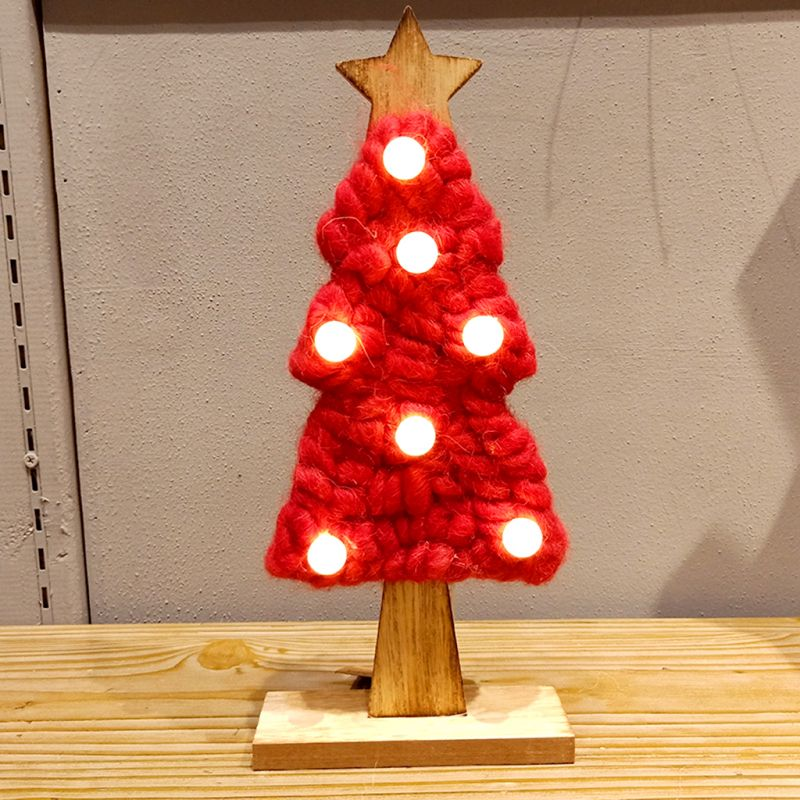 1pc 13cm Mini Yarn Wooden Christmas Tree Ornament With Led Lights
